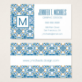 Portuguese Tile Pattern Business Card