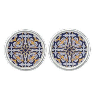Portuguese tile pattern cufflinks