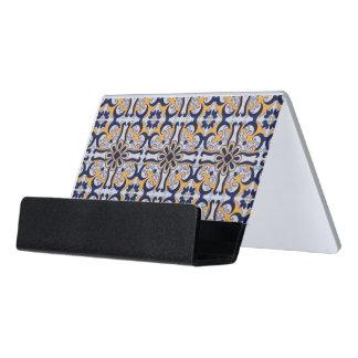 Portuguese tile pattern desk business card holder
