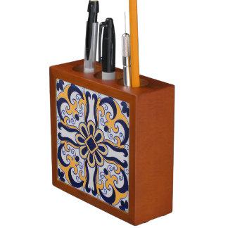 Portuguese tile pattern desk organiser