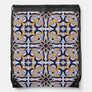 Portuguese tile pattern drawstring bag