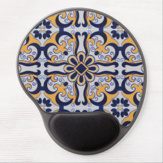 Portuguese tile pattern gel mouse pad