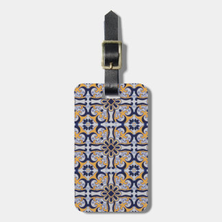 Portuguese tile pattern luggage tag