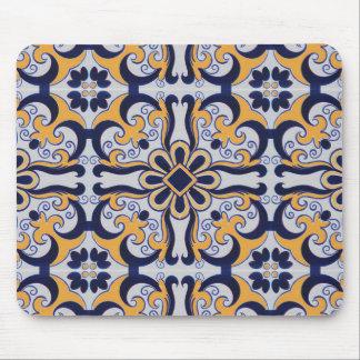 Portuguese tile pattern mouse pad