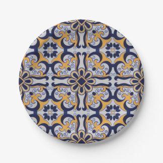 Portuguese tile pattern paper plate