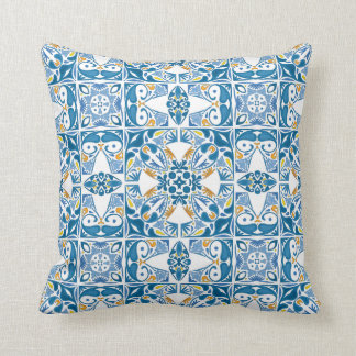 Portuguese Tile Pattern Throw Pillow