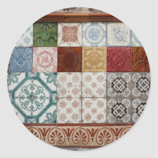 Portuguese tiles round stickers