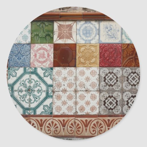 Portuguese tiles round stickers