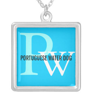 Portuguese Water Dog Breed Monogram Square Pendant Necklace