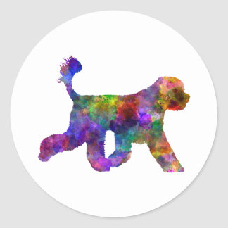 Portuguese Water Dog in watercolor Classic Round Sticker