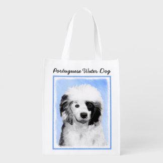 Portuguese Water Dog Painting - Original Dog Art Reusable Grocery Bag