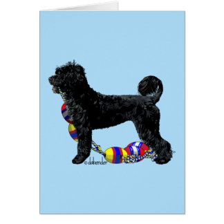 Portuguese Water Dog Standing with Float Line Card