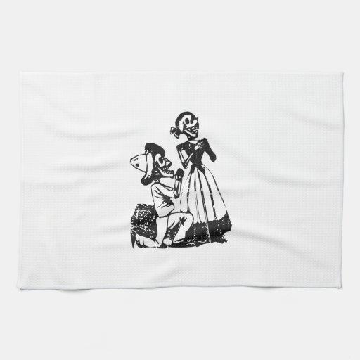 Posada Cavalera Courting Skeleton Couple Hand Towels