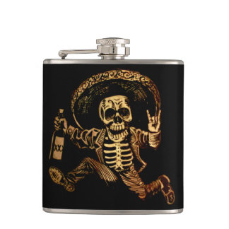 Posada day of the dead Outlaw hip flask
