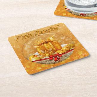 POSAVASOS CHRISTMAS GOLDEN GIFT SQUARE PAPER COASTER