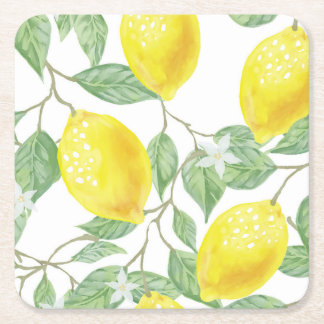 posavasos lemons to the watercolor square paper coaster