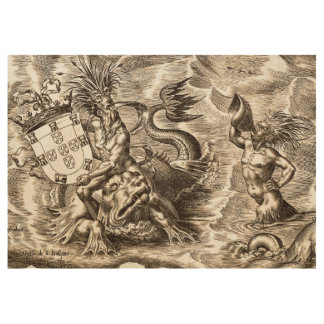 Poseidon and Dolphin World Map Wood Poster