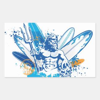 poseidon surfer rectangular sticker