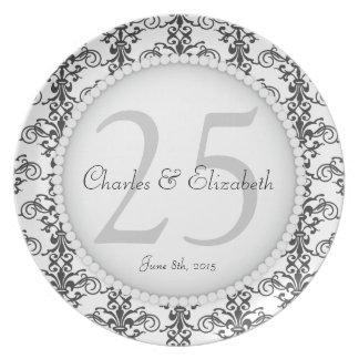 Posh 25th Wedding Anniversary Commemorative Plate