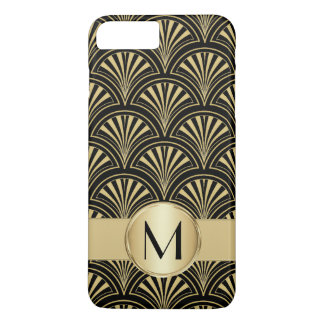 Posh Black and Gold Deco Fans Monogrammed iPhone 7 Plus Case