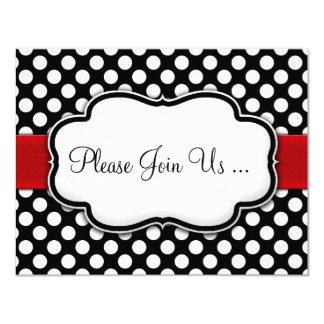 Posh Black and White Polka Dot Invitations