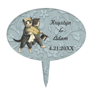 Posh Cats Wedding Blue Cake Toppers