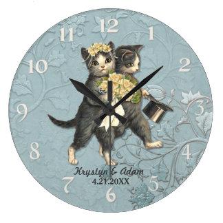 Posh Cats Wedding Blue Clock