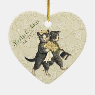 Posh Cats Wedding Ivory Ceramic Heart Decoration