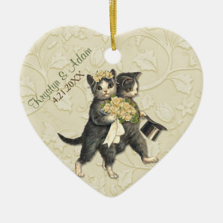 Posh Cats Wedding Ivory Double-Sided Heart Ceramic Christmas Ornament