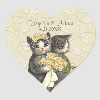Posh Cats Wedding Ivory Heart Sticker