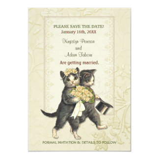 Posh Cats Wedding Save the Date Card