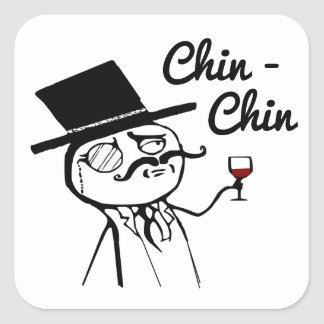 Posh Chap With Top Hat and Monocle Square Sticker