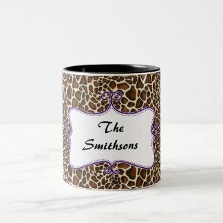 Posh chic trendy leopard print,purple personalized Two-Tone coffee mug