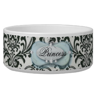 posh classy damask princess dog food bowl
