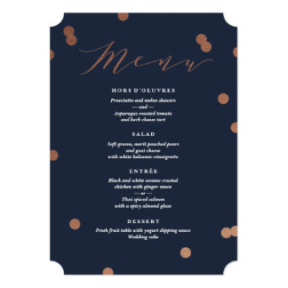 Posh confetti faux foil Menu Card