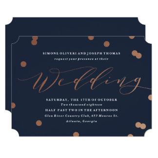 Posh confetti faux foil wedding invitation