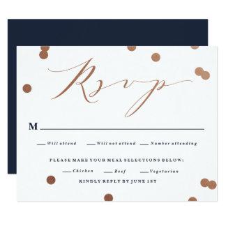 Posh confetti faux foil wedding response rsvp card