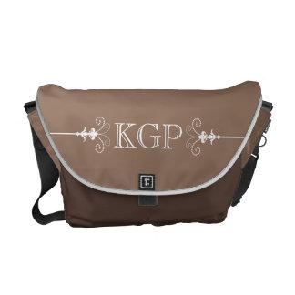 Posh Fleur de Lis Monogram on Chocolate Brown Messenger Bag