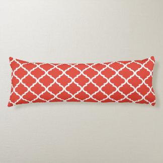 Posh Orange Red Moraccan Quatrefoil Pattern Body Cushion