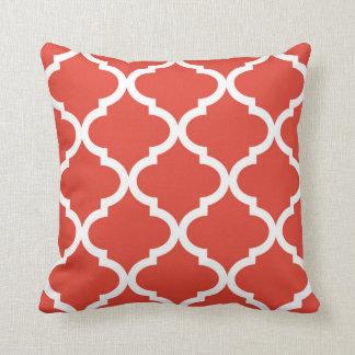 Posh Orange Red Moraccan Quatrefoil Pattern Cushion