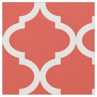 Posh Orange Red Moraccan Quatrefoil Pattern Fabric