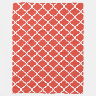 Posh Orange Red Moraccan Quatrefoil Pattern Fleece Blanket