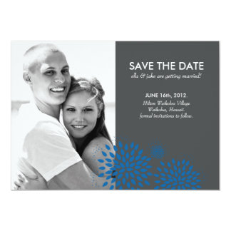 Posh Petals   Cerulean   Save the Date 13 Cm X 18 Cm Invitation Card