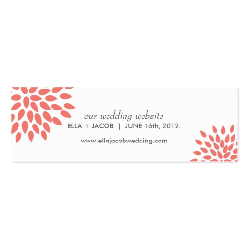 Posh Petals | Coral | Wedding Website Cards Business Card Template