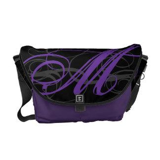 Posh Purple Monogram Initial on Black Messenger Bag