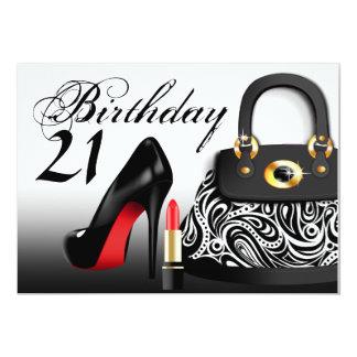Posh Purse, High Heels and Lipstick 21st Birthday Card
