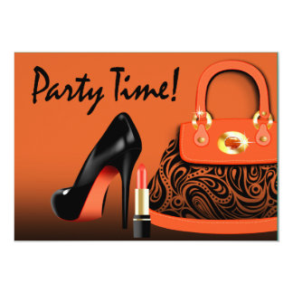 Posh Purse, High Heels and Lipstick Girls Party Card