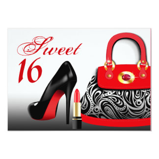 Posh Purse, High Heels and Lipstick Sweet Sixteen Card