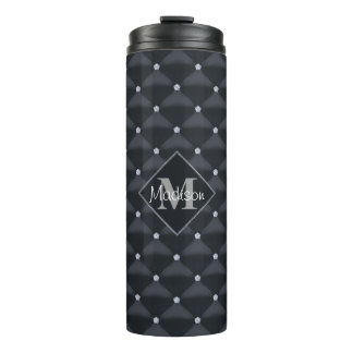 Posh Quilted Black & Bling Thermal Tumbler