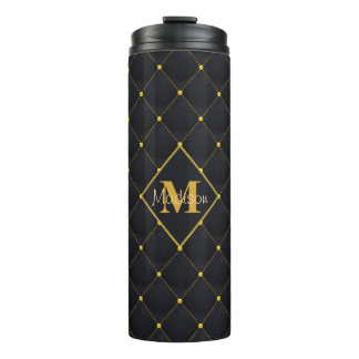Posh Quilted Black & Gold Stitch Thermal Tumbler